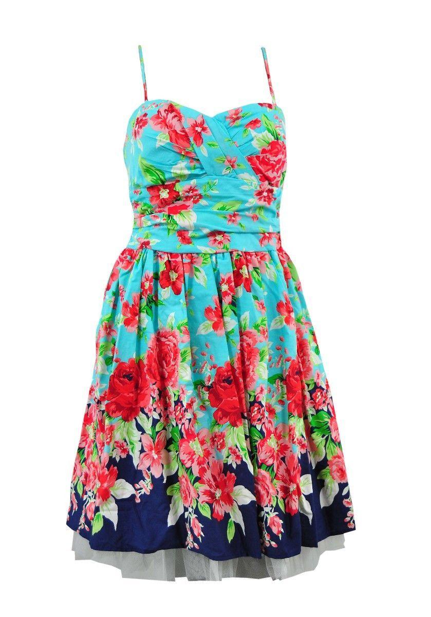 B darlin sleeveless hawaiian floral mini dress junior women summer