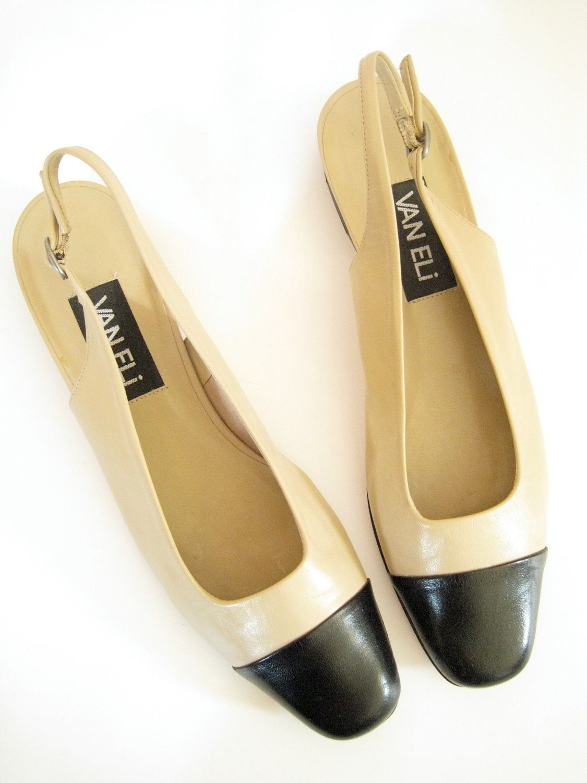 d3b5ef06f06a4 Black and Cream Leather Slingback Flats. Size 7.5. Van Eli. Two Tone ...