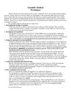 Scientific Method Worksheet Worksheet  Scientific Method