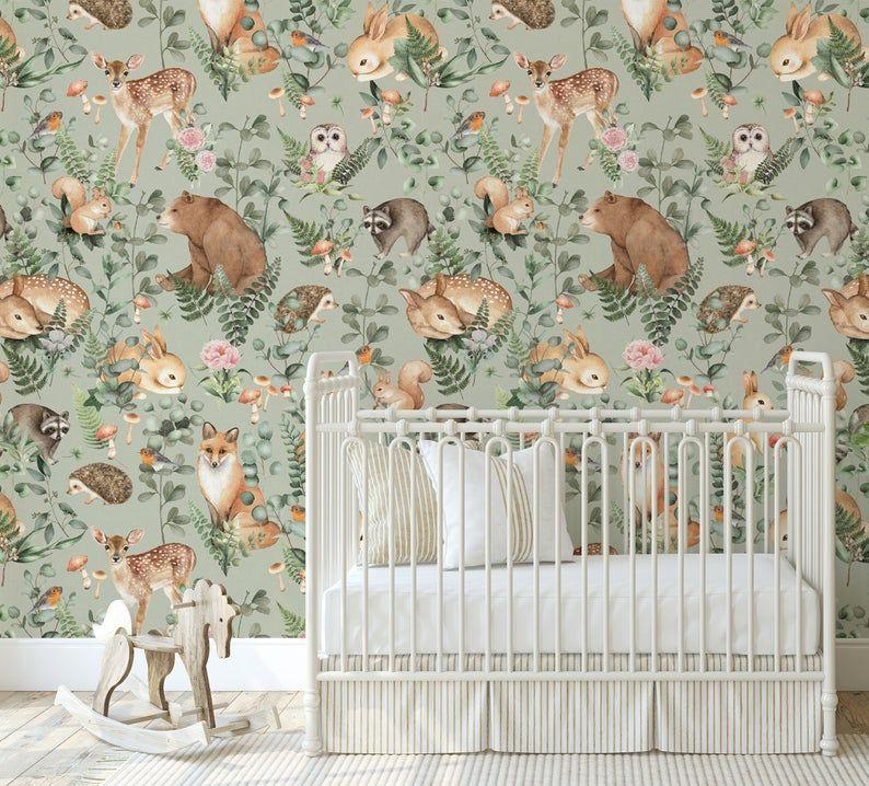 New Woodland Storybook Sage Mural Peel N Stick Or Etsy Deer Wallpaper Prepasted Wallpaper Affordable Wallpaper