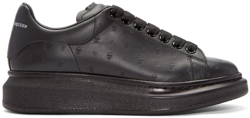 Black Embossed Skull Sneakers