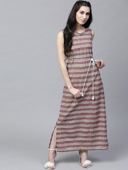 be010e92786 AKS Women Pink   Grey Striped Maxi Dress -