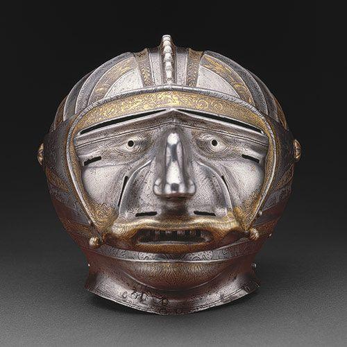 Close helmet,attribued to Kolman Helmschmid (Germany 1471-1532) steel embossed,etched and gilt.