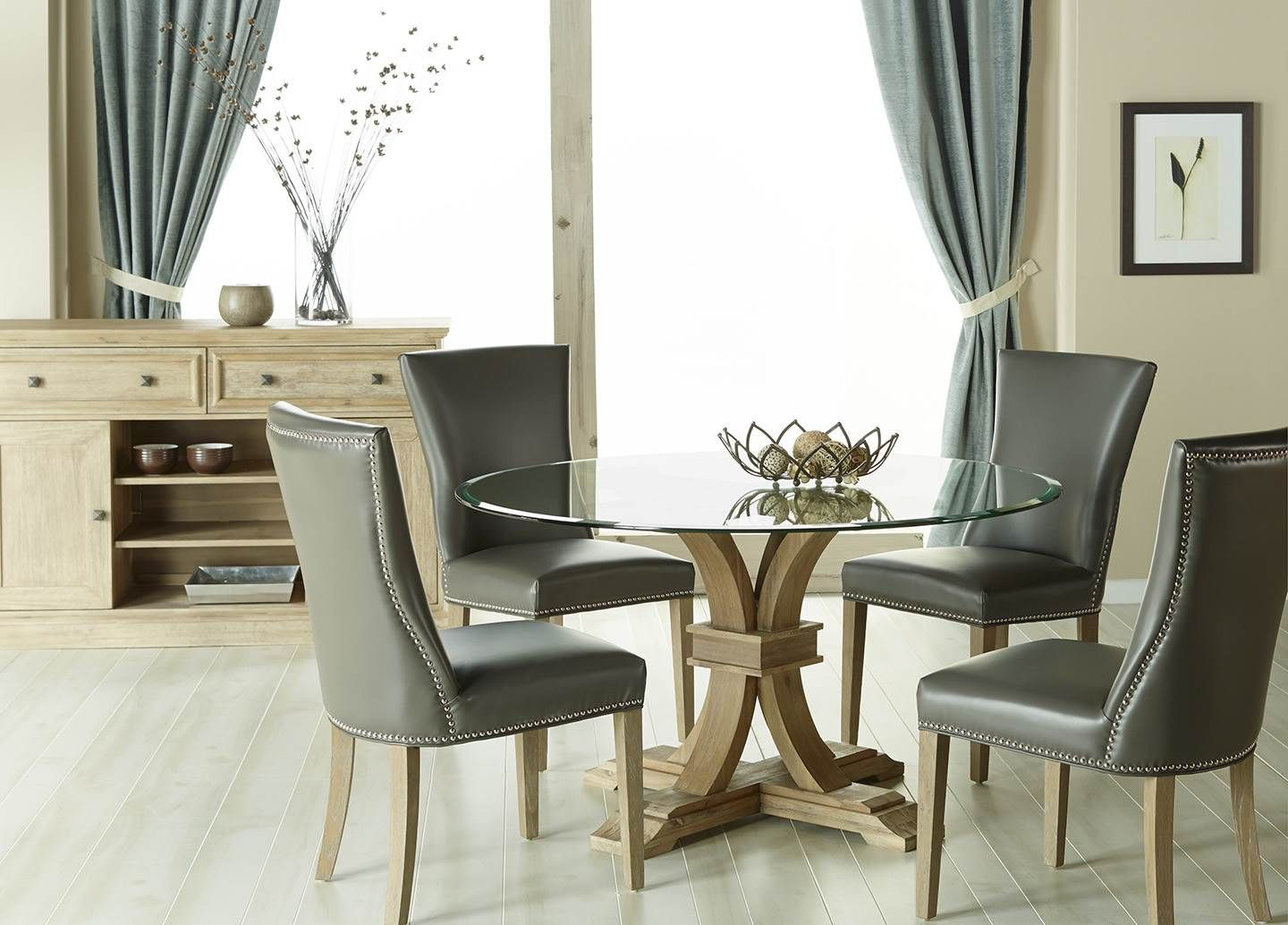 Devon 54 Round Dining Table Glass Top Avery Din Chr Pebble