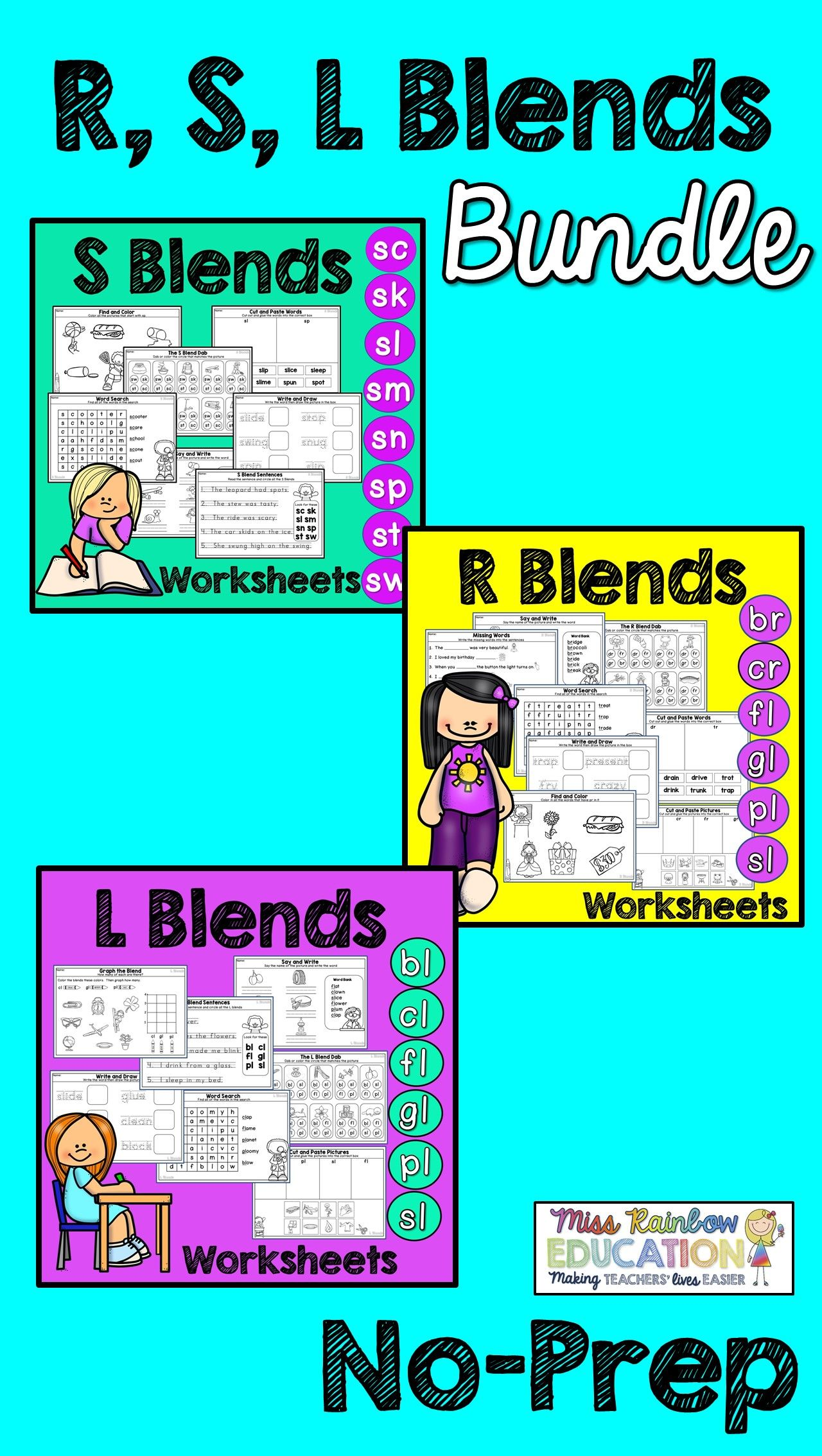 Blends Worksheets S Blends R Blends L Blends No Prep