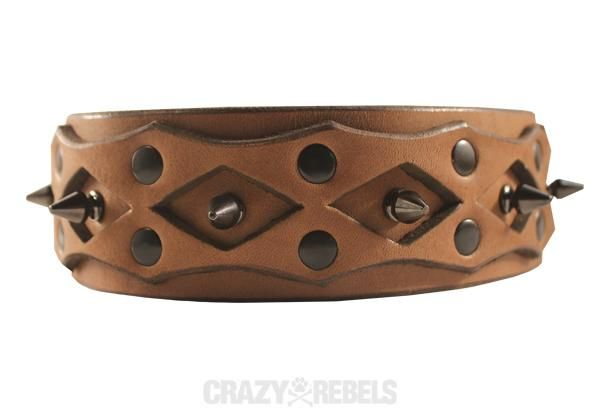 Widow Collar | The Widow collar ensures massive style for dogs of all sizes. With the right amount of tricked out spikes and tough latigo leather, this collar is bad to the bone. | crazyrebels.com