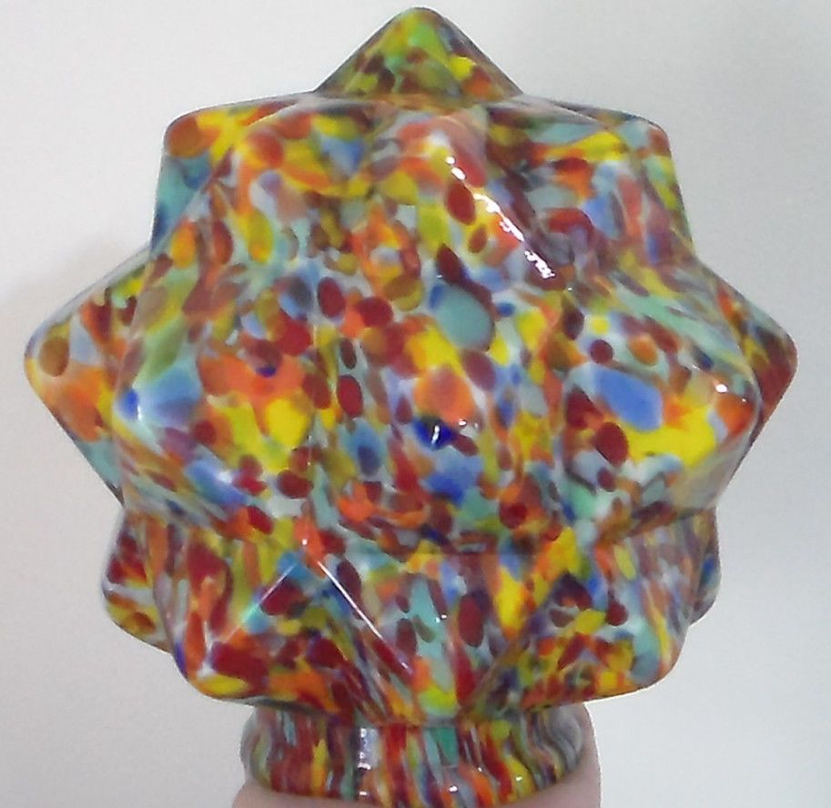 3 1 4 Quot Art Deco End Of Day Glass Lamp Shade Czech Globe