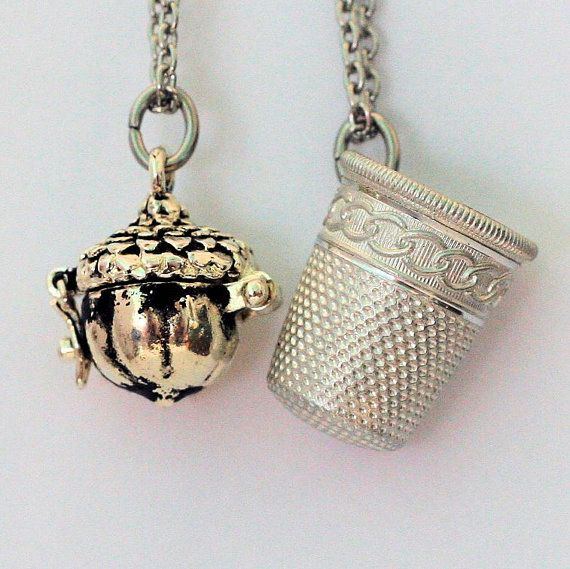 Acorn Thimble Couples Stainless Steel Necklaces Peter Pan Wendy
