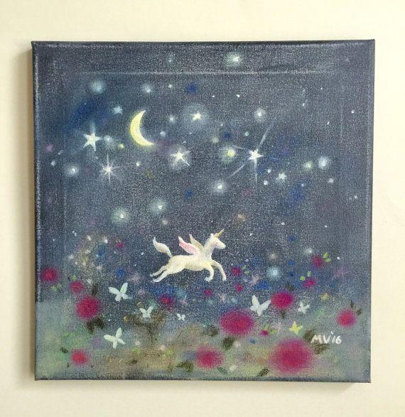 Original Gemälde Schmetterling-Mond Einhorn-Druck von JAustinRyan