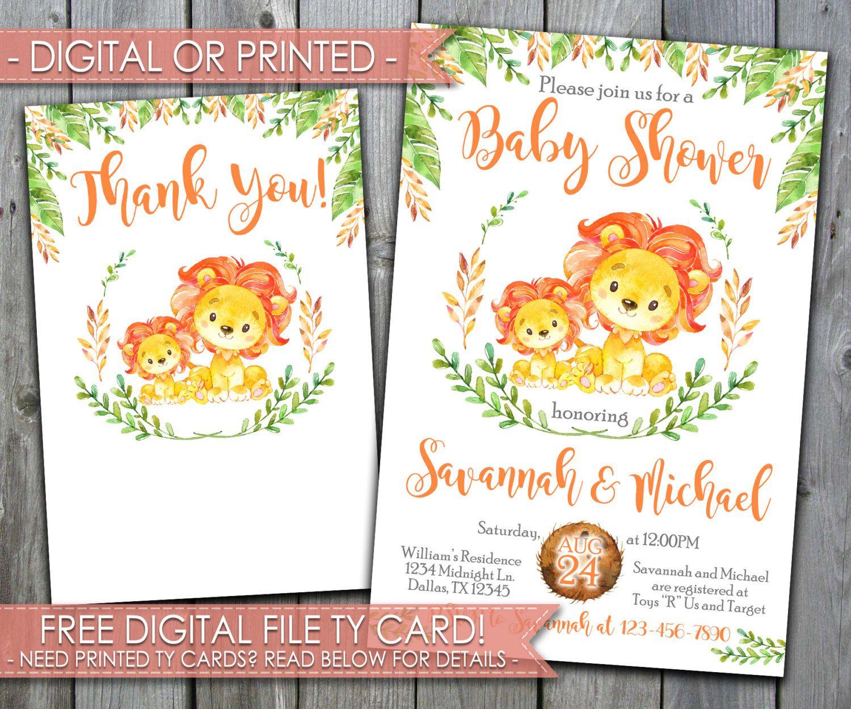 Orange Lion Baby Shower Invitation, Orange Lion Baby Sprinkle ...