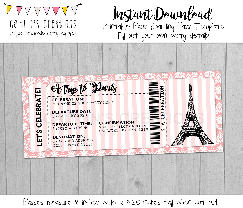Printable Paris Boarding Pass Invitation - Eiffel Tower -Pink ...