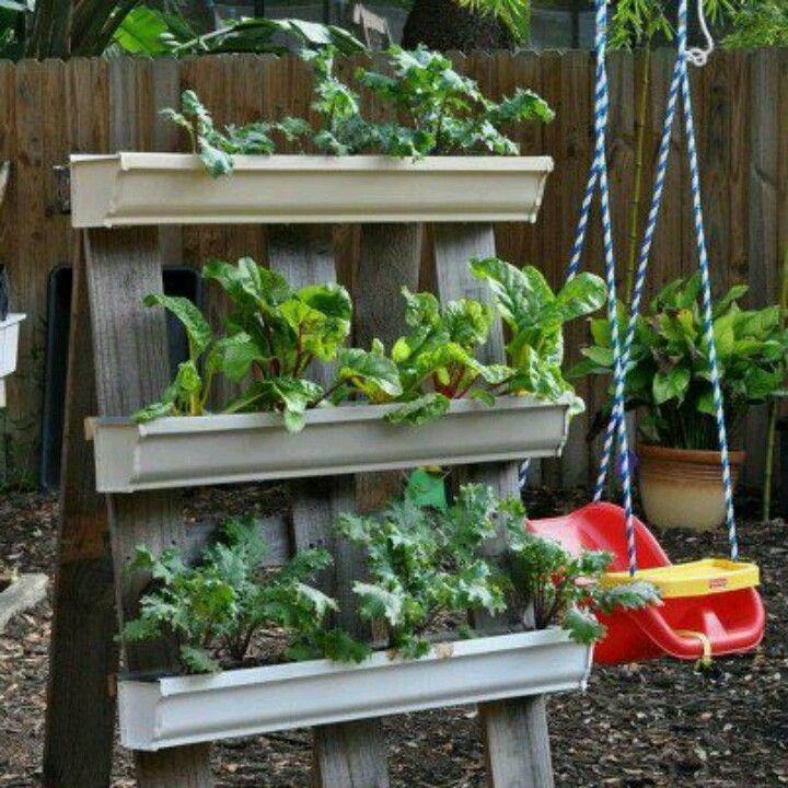 Love The Re Use Of Pallet Wood And Rain Gutters Gutter Garden Vertical Garden Diy Vertical Vegetable Gardens