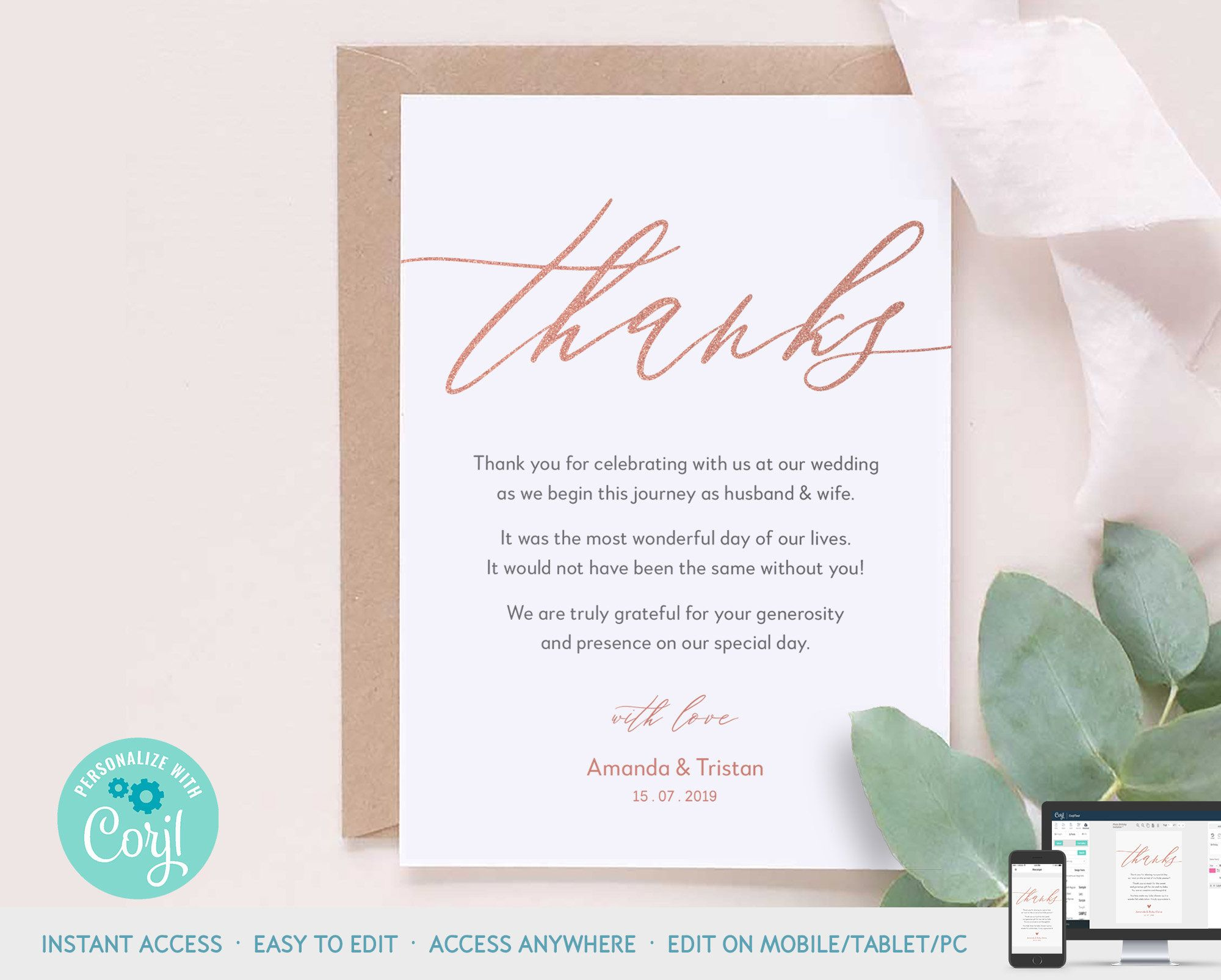 Rose Gold Baby Shower Invitation Suite Printable Template Etsy Thank You Card Template Gold Baby Shower Invitations Thank You Cards