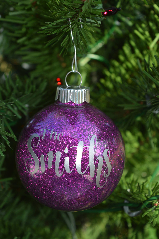 Personalized Christmas Ornament Round glitter ornament