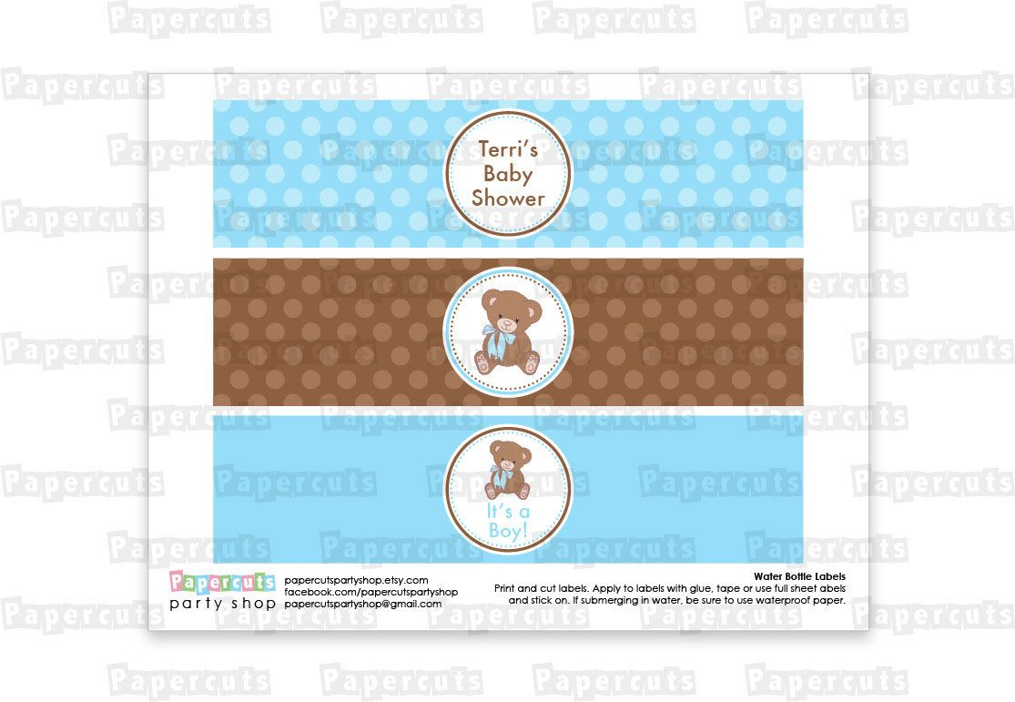 Printable Diy Blue And Brown Teddy Bear Theme Personalized Boy Baby Shower Water Bottle Labels
