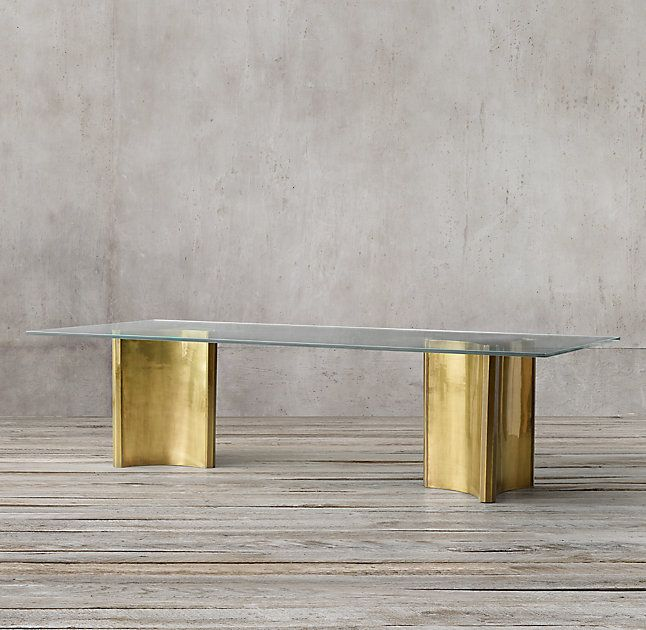 RHu0026 Dalton Rectangular Dining Table:Luxe And Sculptural, Our Dalton Table  Is A Statement Piece. Inspired By Postmodern Design, Its Gleaming,  Burnished Brass ...