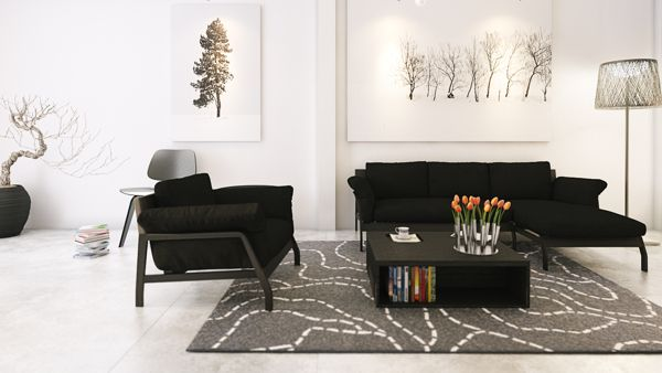Wonderful Glamour Apartment Design in Big Room Space: Artful Decorating Ideas With Black Furniture Design In Interesting Five Apartment Architectures