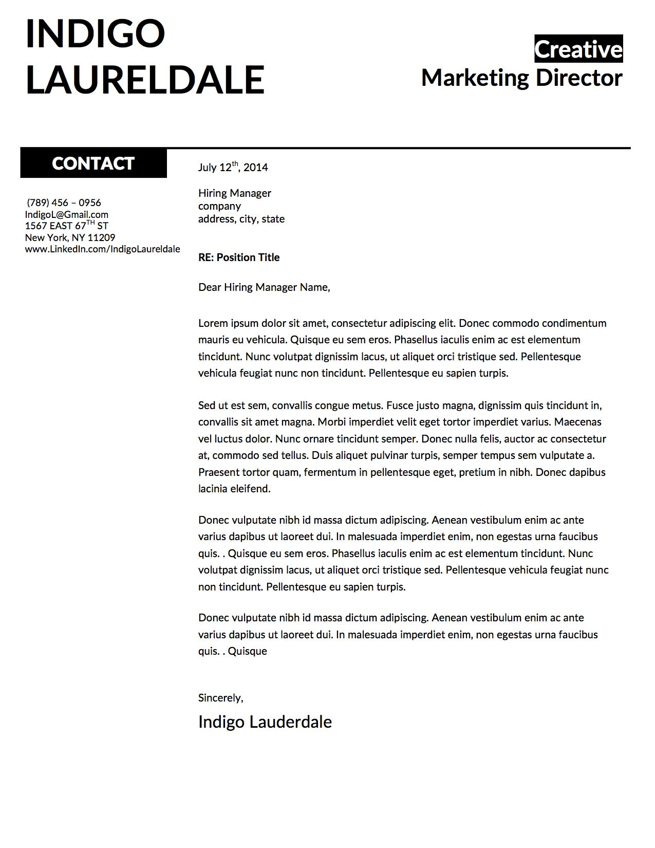 INDIGO Lauderdale Cover Letter Template For Microsoft Word