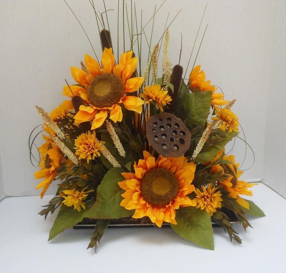 Silk Sunflower Flower Floral Arrangement Crafted In Usa
