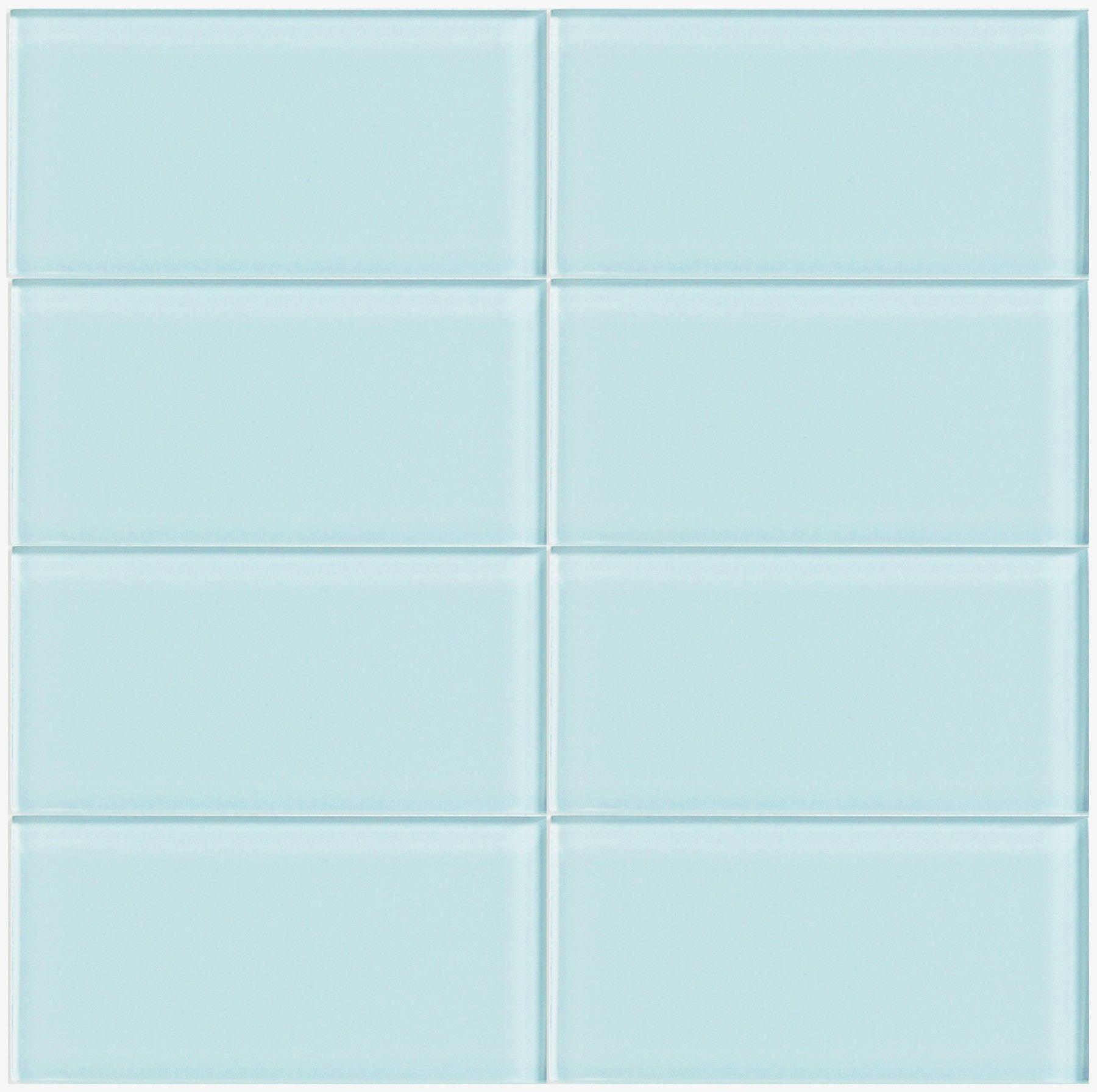 Lush Light Blue Glass 3x6 Subway Tile In Vapor Eight Tile Layout