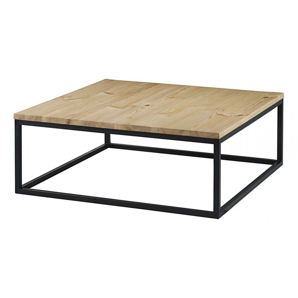 Table basse carrée pin massif brut et métal 100 cm City