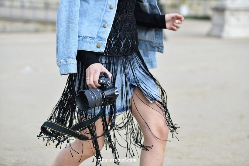 fringy fab. Paris. | Denim and black fringe | Macramé top jumper | Street snap