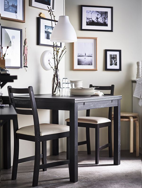 Lerhamn table and 2 chairs black brown vittaryd beige for Beige dining room ideas