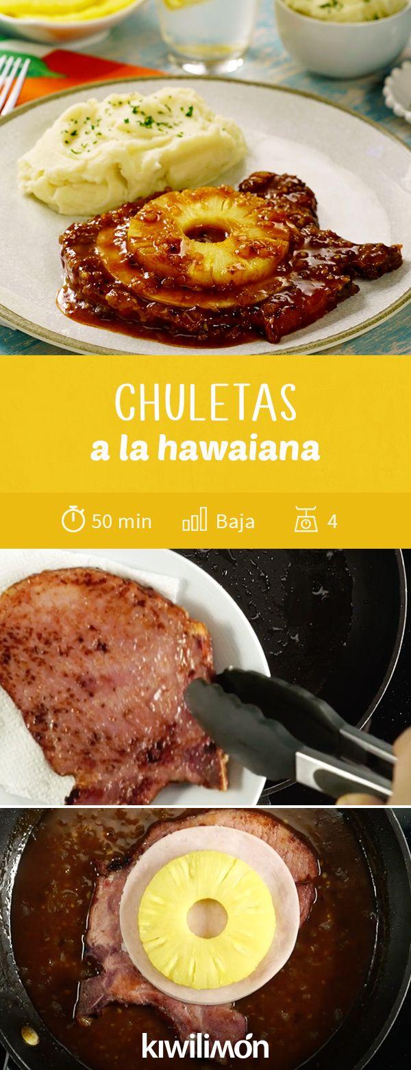 Chuletas a la hawaiana receta en 2018 recetas con for Comidas faciles de cocinar
