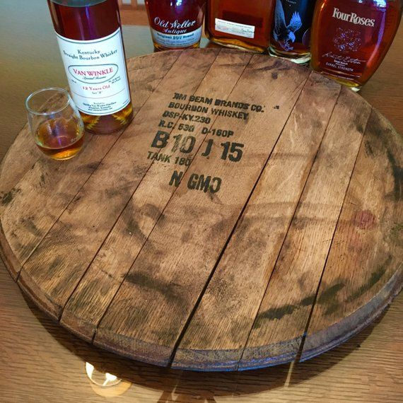Lazy Susan Bourbon Barrel Head Gift Fathers Day Barrel Top