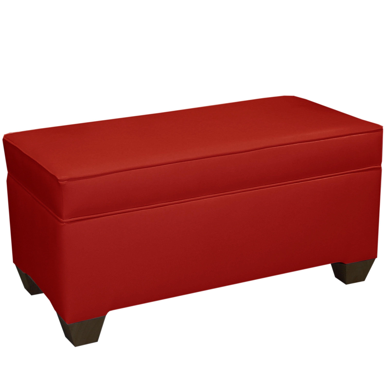 Skyline Furniture Red Vinyl 36 Inch Storage Bench Red Fabric