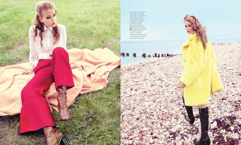 002544d1aaef Hollie-May Saker Wears 60s Inspired Brights for BAZAAR by Tom Munro ...