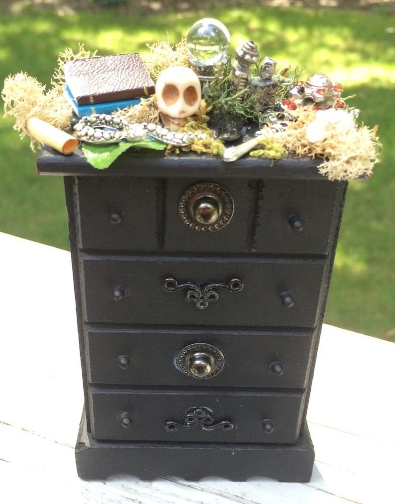 Miniature Gothic Witch Wizard Fairy Dresser Decor Furniture Dollhouse Table OOAK