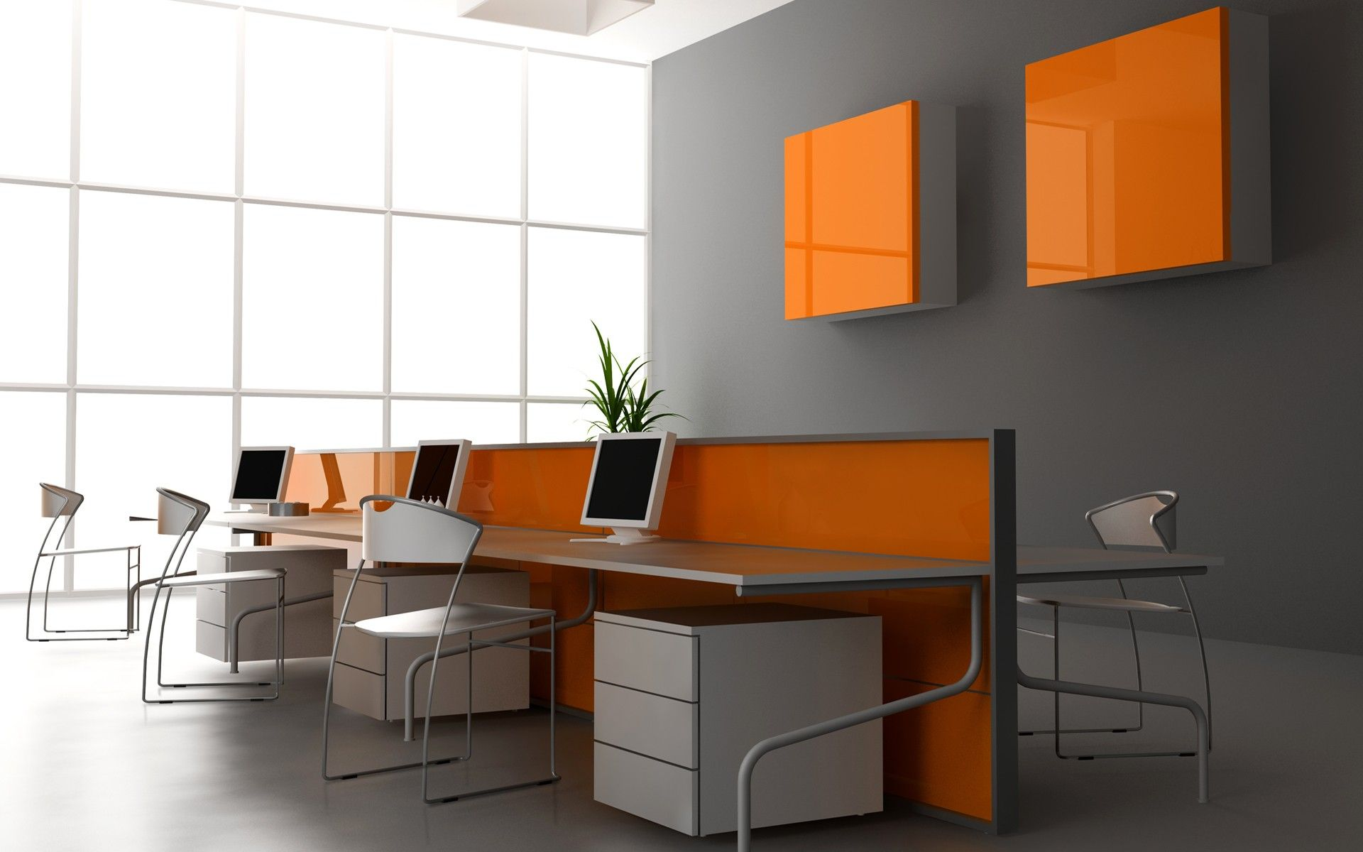Extraordinary Design Ideas Of Office Interior With White Blue Wall