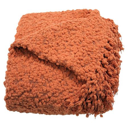 Showcasing a popcorn-inspired design and fringed accents, this coral-hued throw is perfect draped across an ottoman in the den or placed in a wicker basket a...