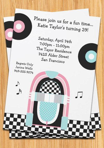 1950s Juke Box Party Invitation – 1950s Party Invitations