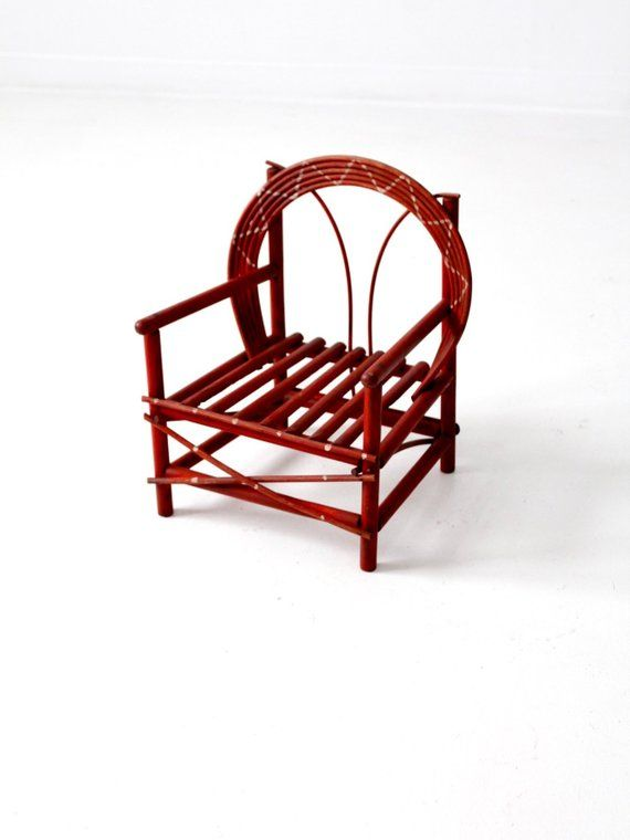 adirondack style dining chairs high back bedroom chair antique children s red folk art twig table