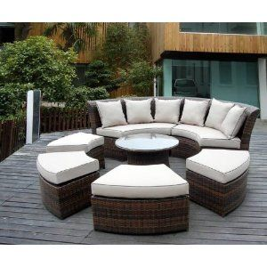 Genuine Ohana Outdoor Patio Wicker Furniture Pc All Weather Round - Outdoor lounge furniture