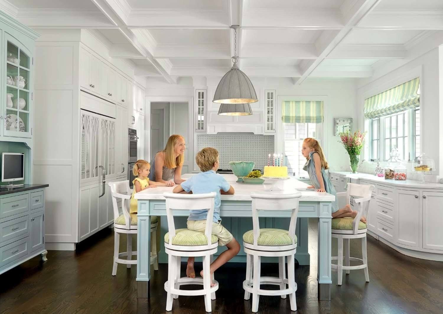 Wish I Had The Guts To Have Color Like This On My Cabinets 30 Brilliant Ki Kitchen Island Table Kitchen Island With Seating For 6 Kitchen Island With Seating