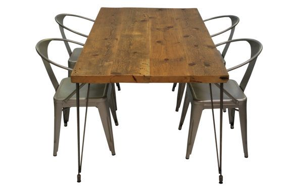 Mid Centery Rustic Wood Table Or Desk With Reclaimed Wood Top And