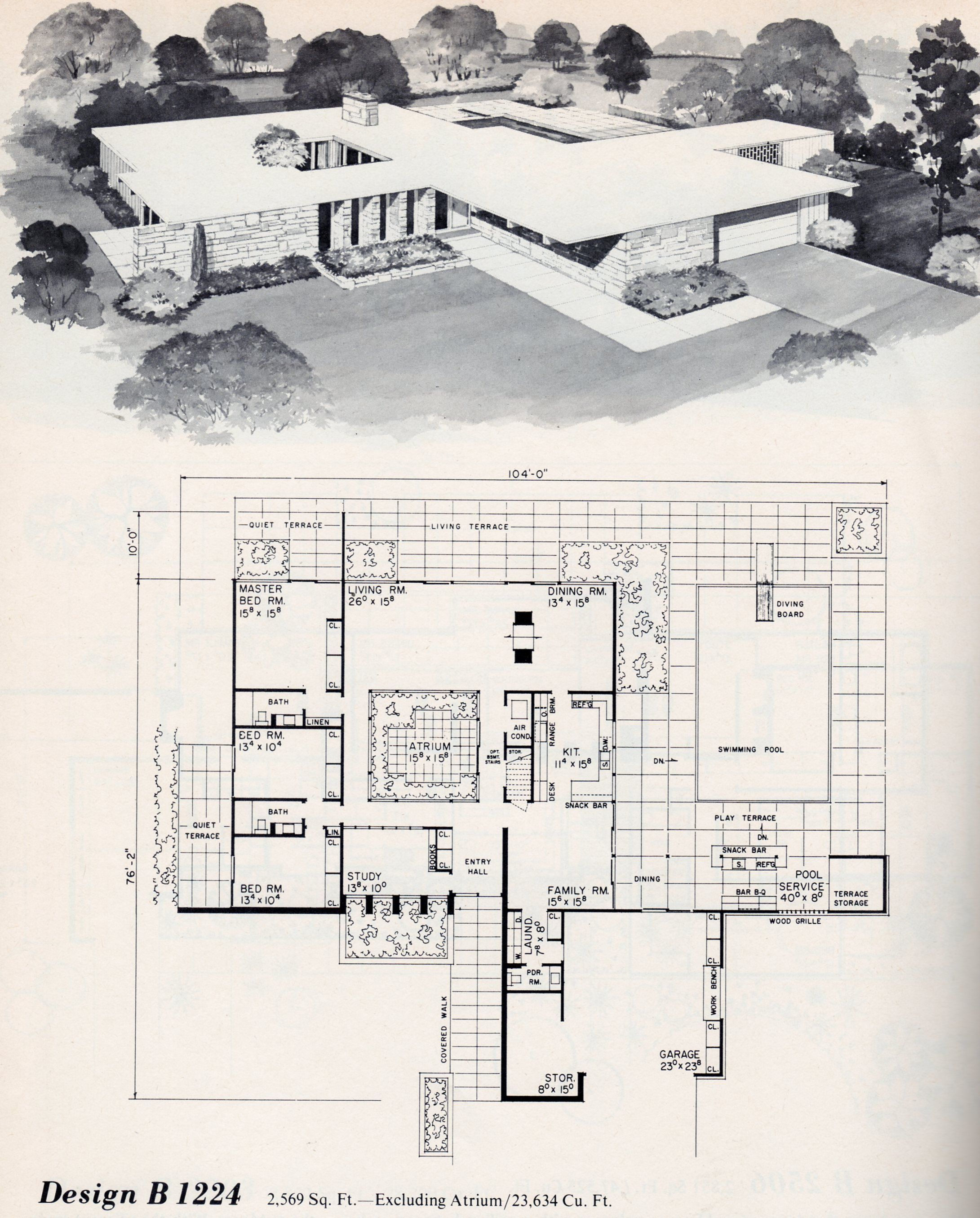 Pin By Thiago Campos On Architecture Vintage House Plans Modern Floor Plans Mid Century Modern House Plans