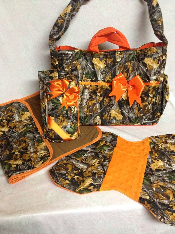 Large Camo Diaper Bag Set With Orange Bow By