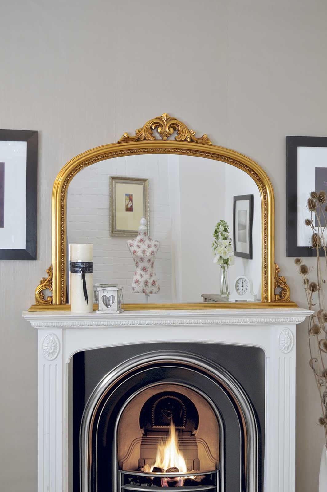Gold over mantle mirror 127x91cm soraya interiors