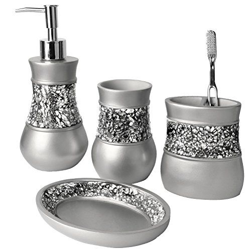 Creative Scents Brushed Nickel 4 Piece Bathroom Accessories Set Unique Brushed Nickel Bathroom Accessories Design Decoration