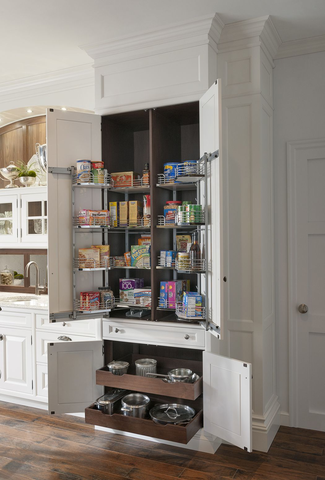 Yardley Butler S Pantry By Woodmode With Complementary Walnut Highlights And Interiors Wood Mode Custom Kitchen Cabinets Custom Cabinetry