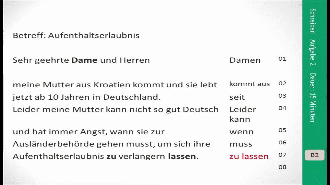 Briefe Schreiben Deutsch Als Fremdsprache übungen Für A2 Und B1 : Prüfungsvorbereitung zertifikat b aufgabe schreiben