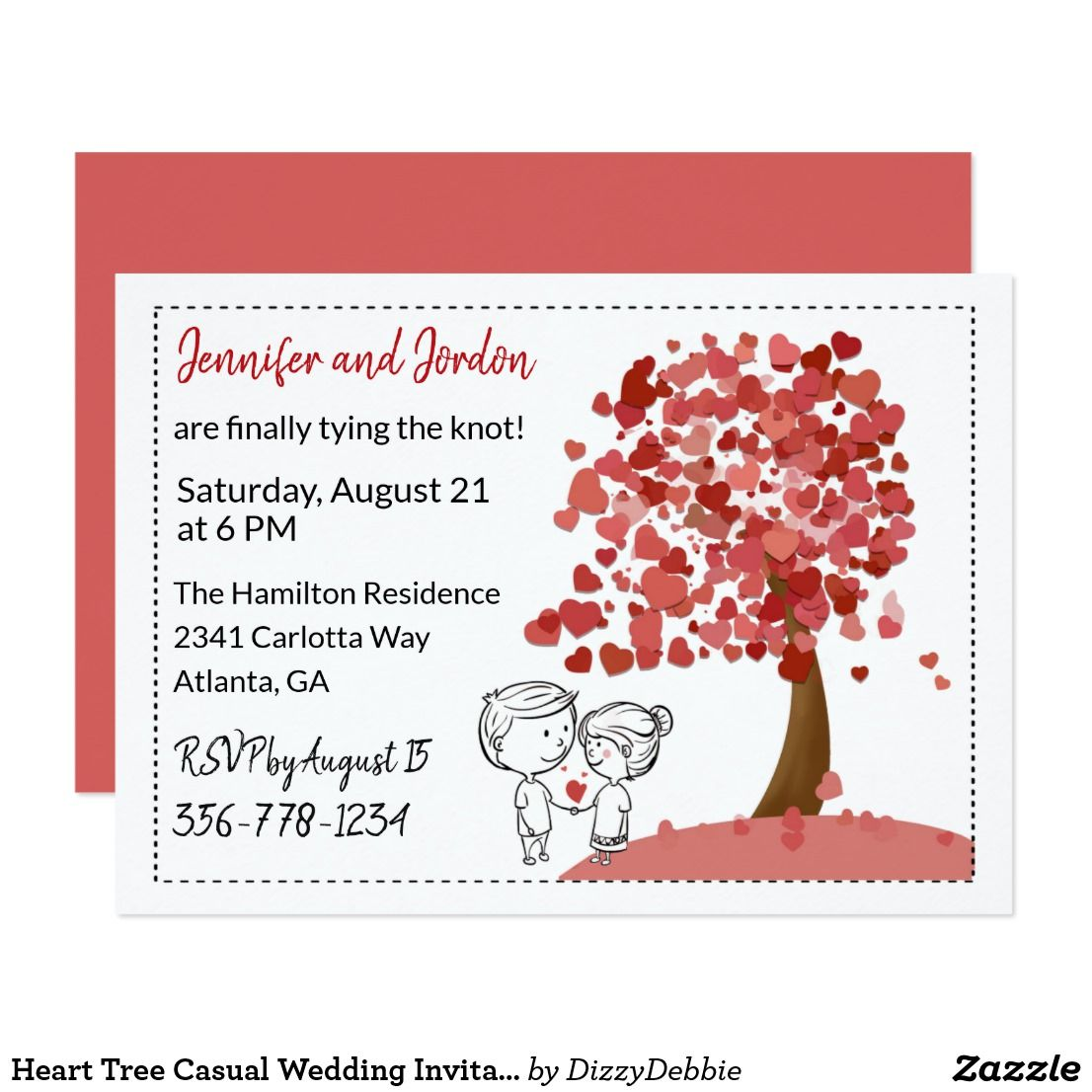 Heart Tree Casual Wedding Invitation Too cute for a casual wedding ...