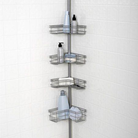 Zenna Home L Shaped Tension Corner Pole Shower Caddy Satin Nickel