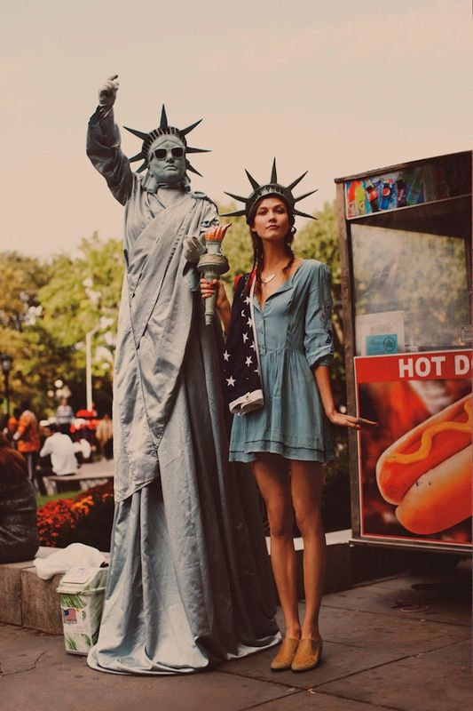 karlie kloss for free people #denim  statue of liberty cute - awesome halloween costume ideas