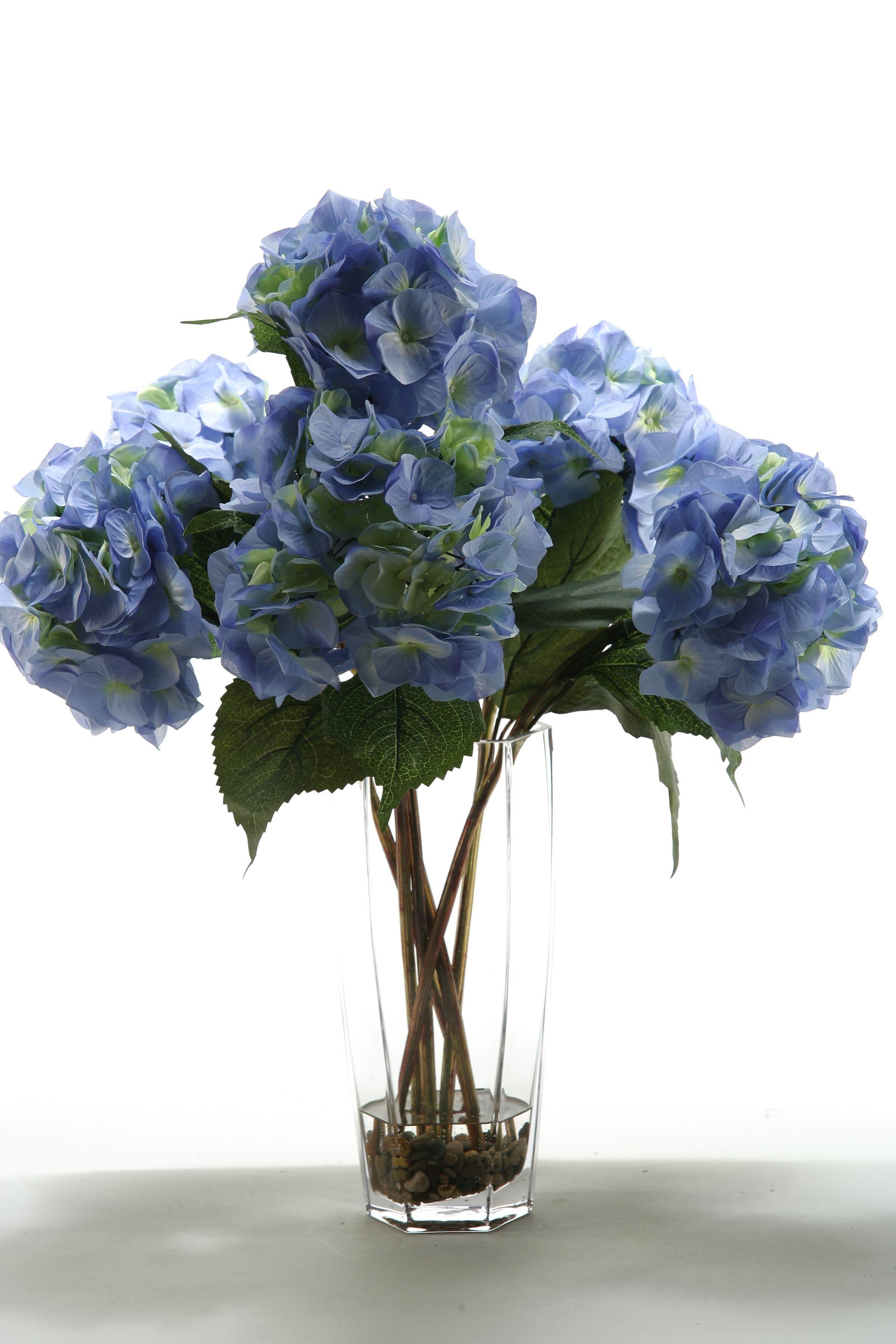 Blue Hydrangea D W Silks Hydrangea Arrangements Faux Floral Arrangement Glass Vase