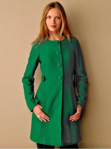Banana Republic Collarless Mod 60s Emerald Green Dress Coat L Wool Blend  EUC #BananaRepublic #